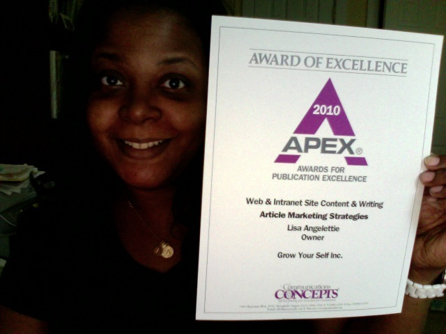 Lisa Angelettie's Apex Award