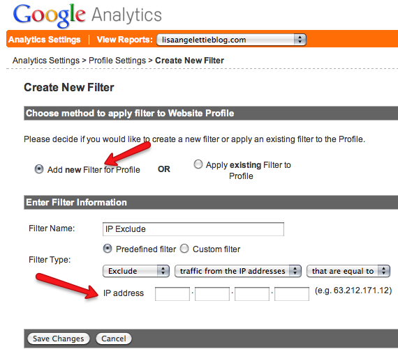 filter in Google Analytics