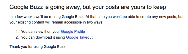 Google Buzz Retiring