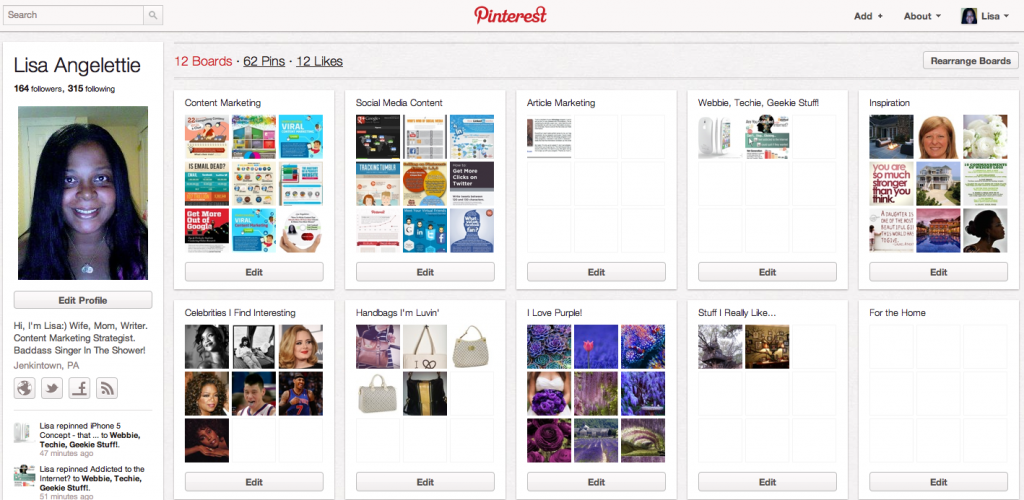 pinterest user page