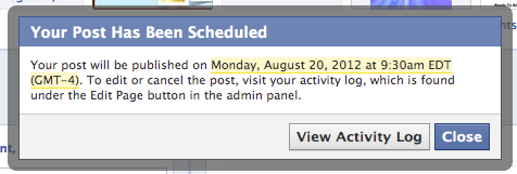 facebook scheduled post confirmation