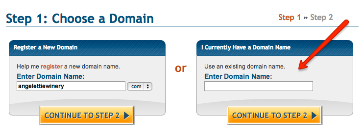 existing domain name