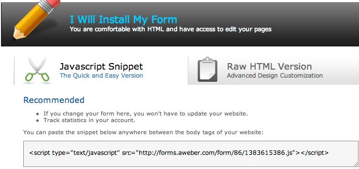 aweber web code